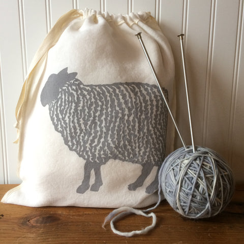 Sheep Drawstring Bag - Light Grey