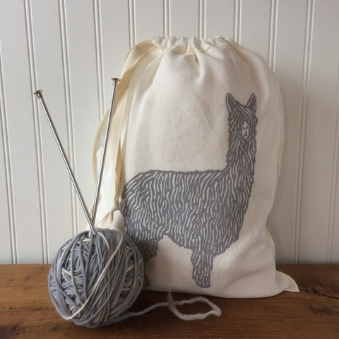 Alpaca Drawstring Bag - Light Grey