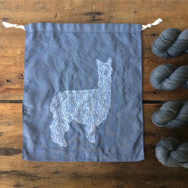 Hand Dyed Alpaca Drawstring Bag - Large