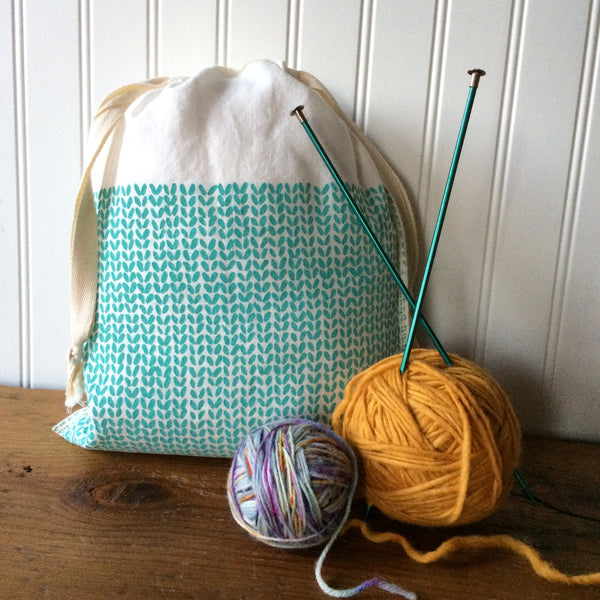 Knit Stitch Drawstring Bag - Medium