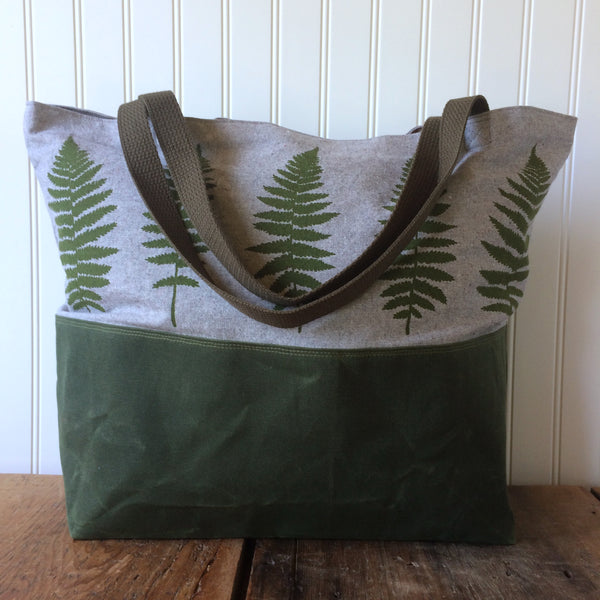 Fern Waxed Bottom Tote Bag