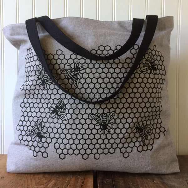 Honeycomb Tote Bag - Light Grey