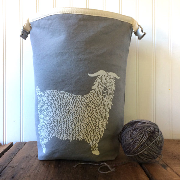 Wool Lined Trundle Bag with Angora Design