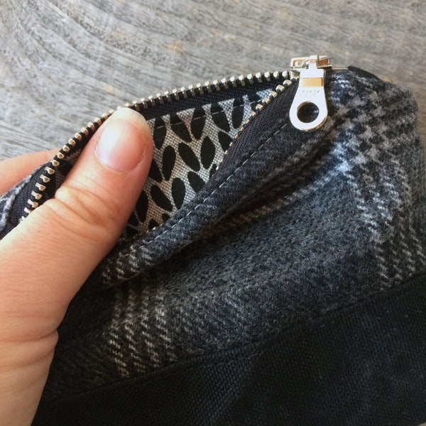 Bits and bobbles purse-  grey plaid wax and wool edition
