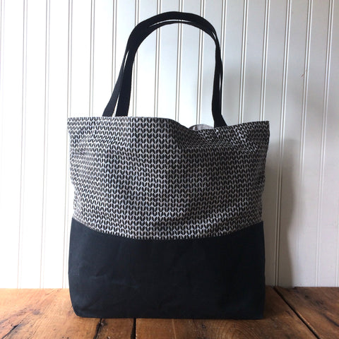 Beeswaxed Bottom Tote Bag - Black