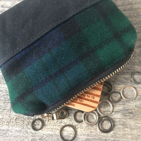 Bits and bobbles purse-  black watch wax and wool edition