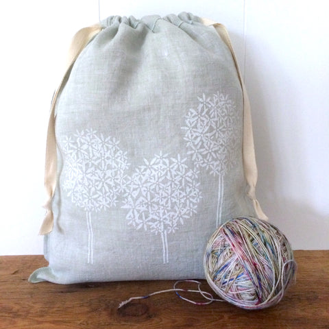 Large Organic Linen Drawstring Bag - Allium