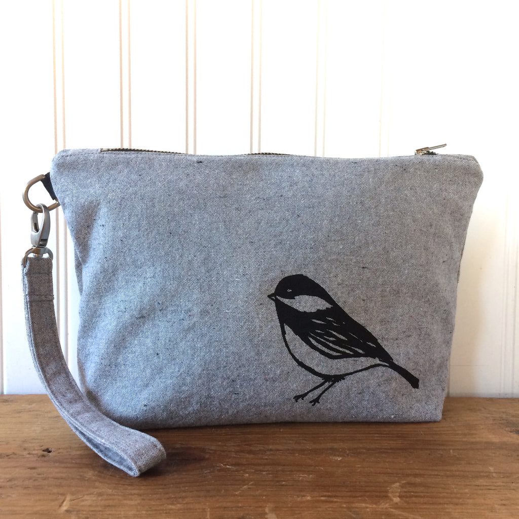 Notions pouch- Chickadee wristlet