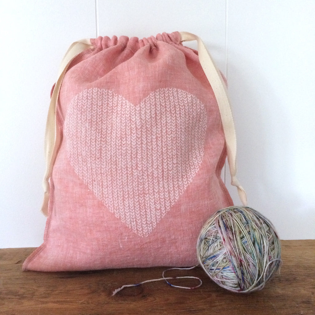 Large Organic Linen Drawstring Bag - Love in Every Stitch