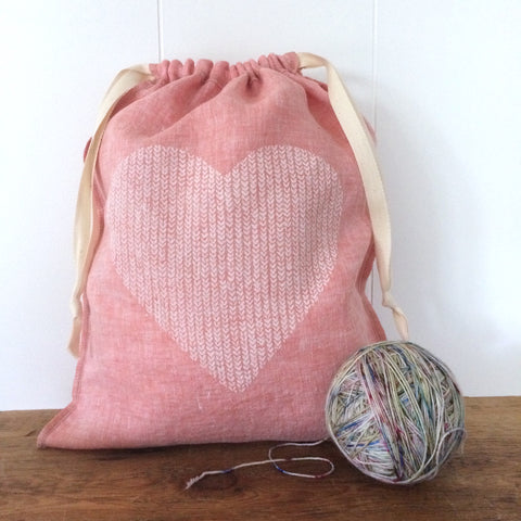 Large Organic Linen Drawstring Bag - Knit Stitch Heart