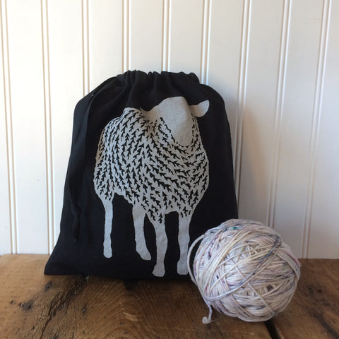 Medium Organic Linen Drawstring Bag - Sheep