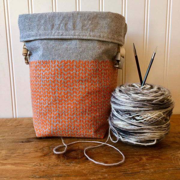 Knit Stitch Mini Trundle Bag- Orange