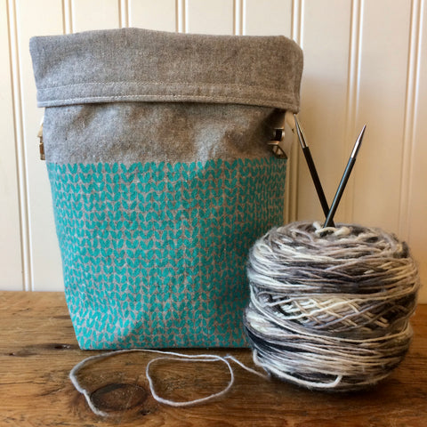 Knit Stitch Mini Trundle Bag- Turquoise