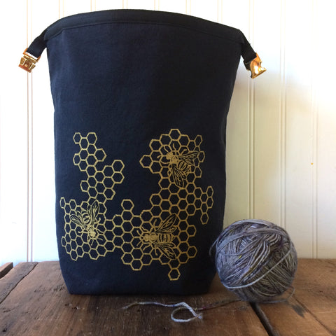 Wool Lined Trundle Bag with Honeycomb Design