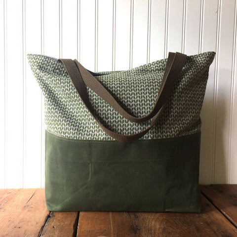 Beeswaxed Bottom Tote Bag - Green