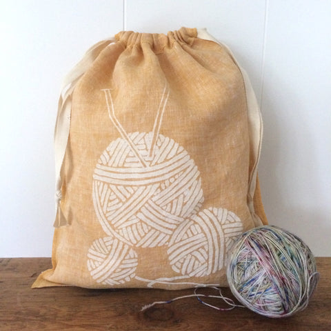 Large Organic Linen Drawstring Bag - Yarn