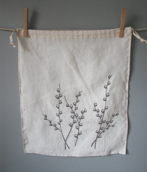 Pussy Willows Drawstring Bag - Large