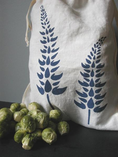 Lupine Drawstring Bag- Medium