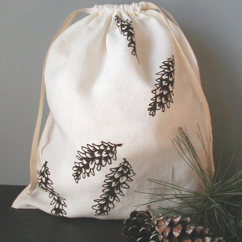 Pine Cone Drawstring Bag - Large