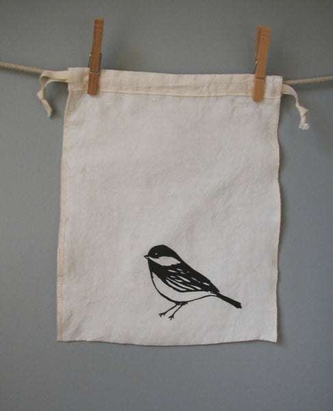 Chickadee Drawstring Bag - Medium