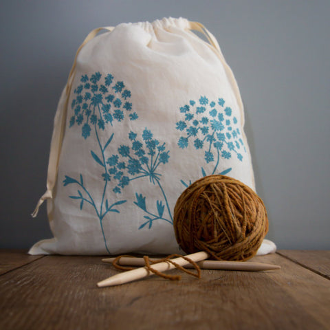 Queen Anne's Lace Drawstring Bag- Large