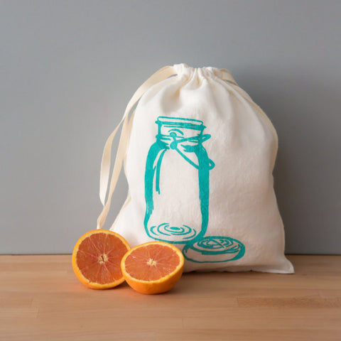 Mason Jar Drawstring Bag- Medium