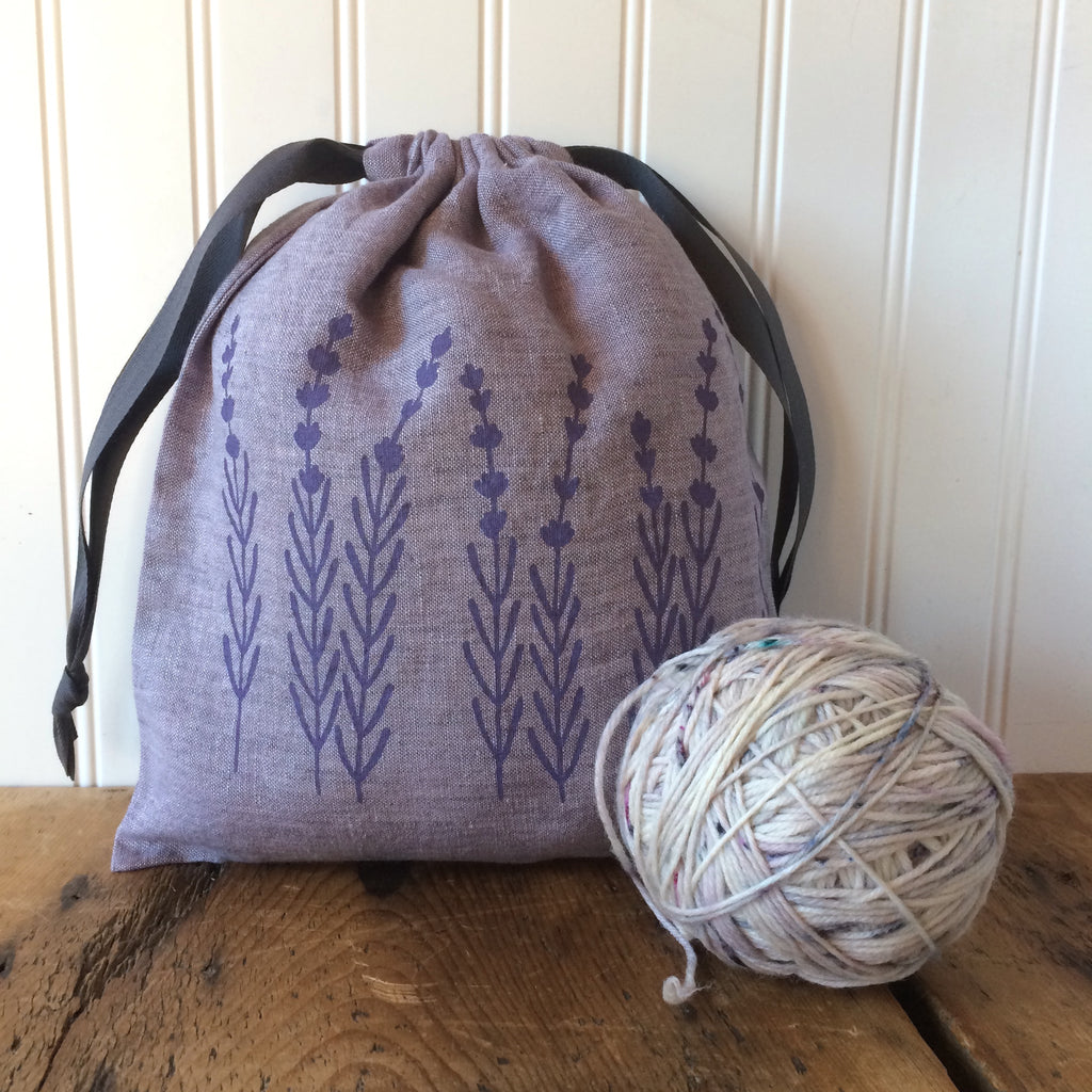 Medium Organic Linen Drawstring Bag - Lavender