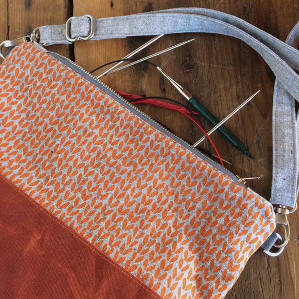 Notions pouch- Orange knit stitch cross-body