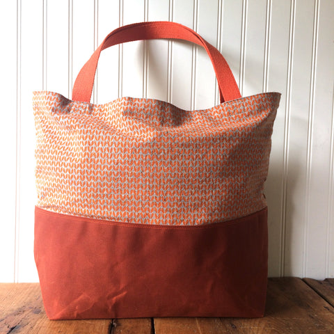Beeswaxed Bottom Tote Bag - Orange