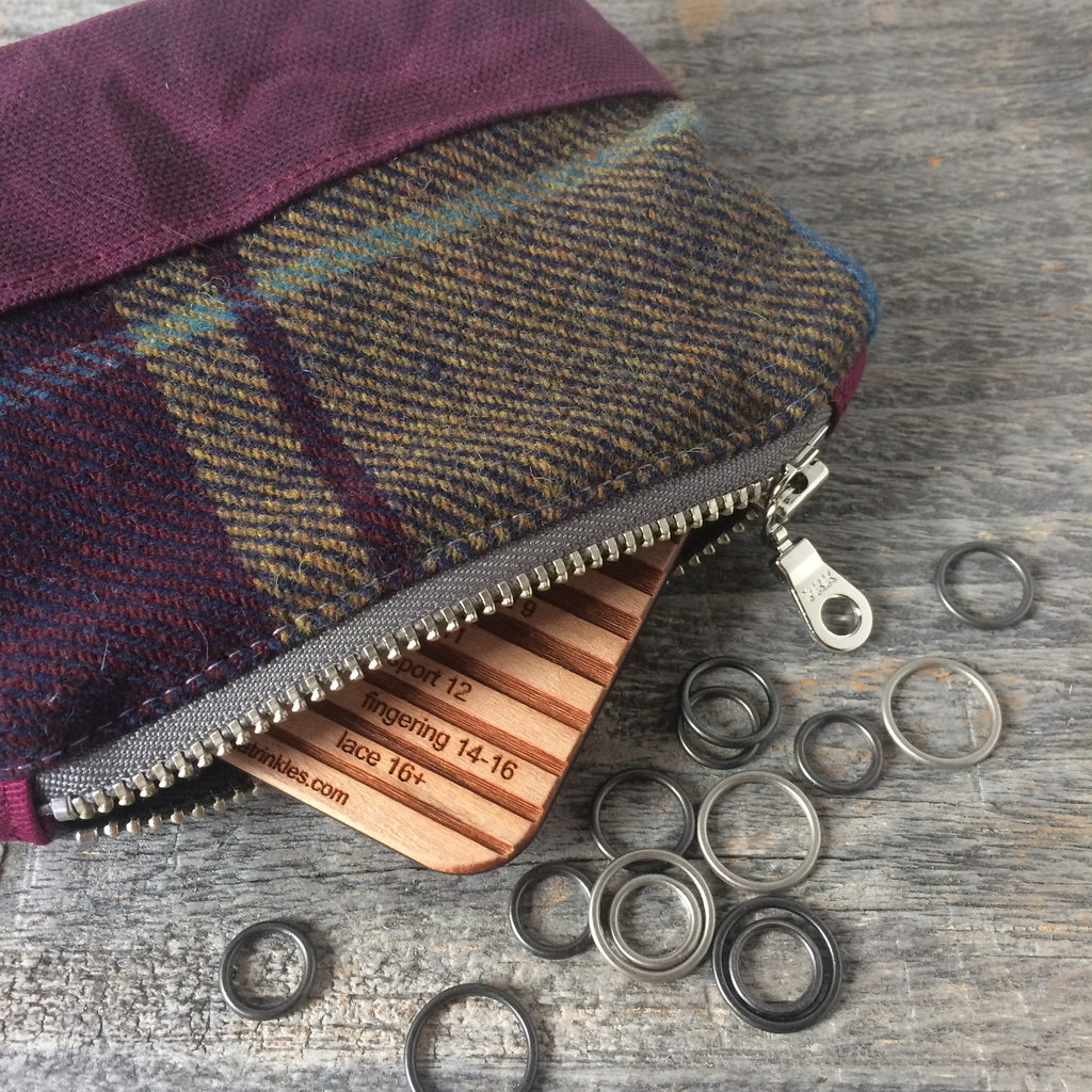 Bits and bobbles purse-  purple wax and wool edition