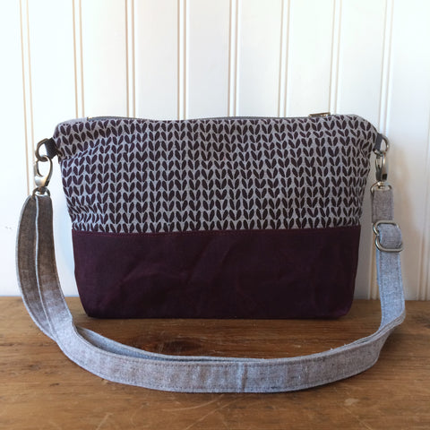 Notions pouch- Purple knit stitch cross-body
