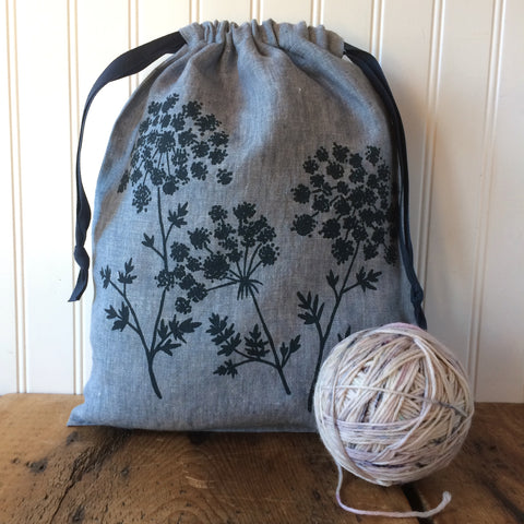 Large Organic Linen Drawstring Bag - Queen Anne's Lace