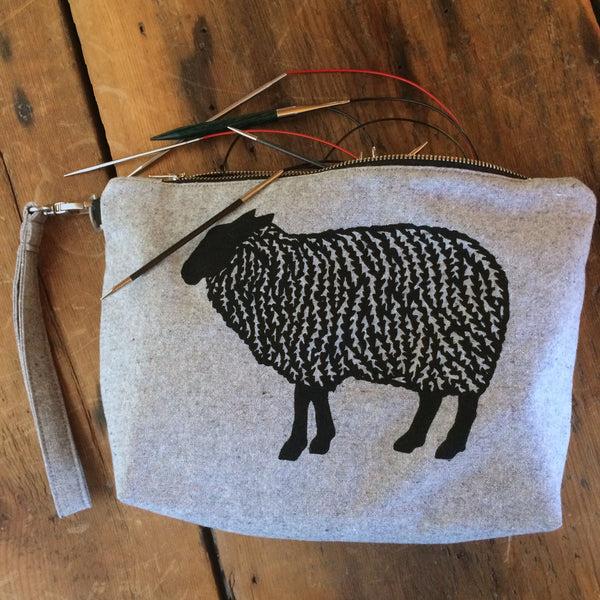 Notions pouch- Sheep wristlet