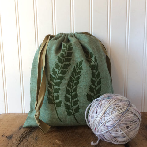 Medium Organic Linen Drawstring Bag - Fern