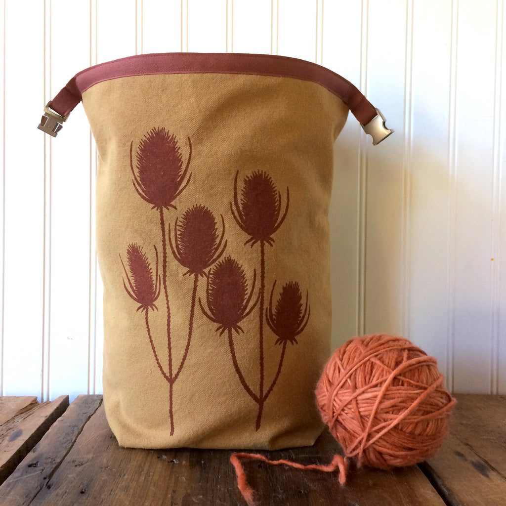 Wool Lined Trundle Bag with Teasel Design