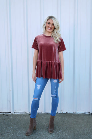 Edmond Velvet Peplum Top
