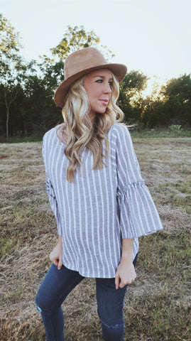 Arcadia Grey Striped Top