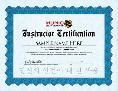 SAMPLE Certified Instructor Certificate | MUNIO Self Defense