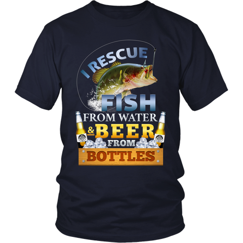 Funny Fishing - Fisherman I Rescue Fish from Water and Beer from Bottles - T-Shirt -  District Unisex Shirt / Navy / S - 1