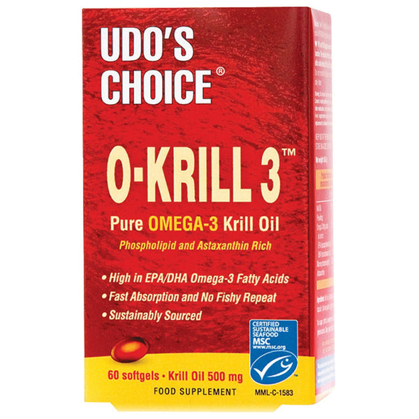 Udo's Choice O-Krill Pure Omega 3 Krill Oil 500mg 60 Caps EFA  www.nutri4u.co.uk