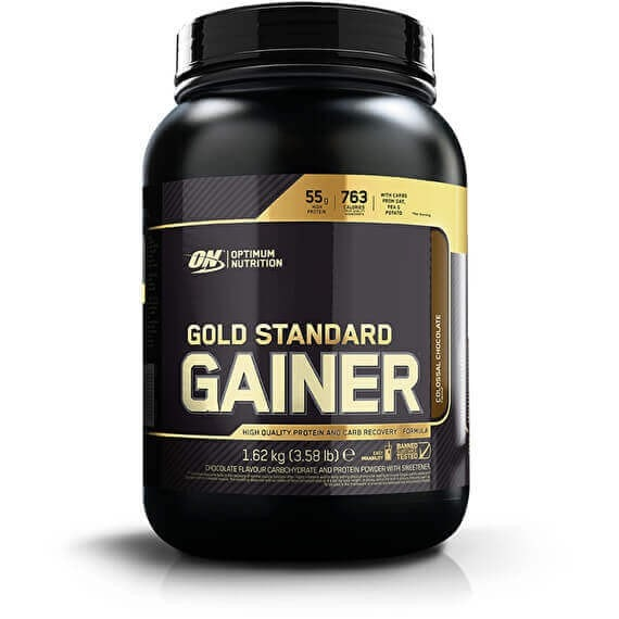 Optimum Nutrition Gold Standard Gainer 1.62kg (8 Servings) + FREE Trial Size Gold Standard Pre Workout / Colossal Chocolate Mass Gainers  www.nutri4u.co.uk