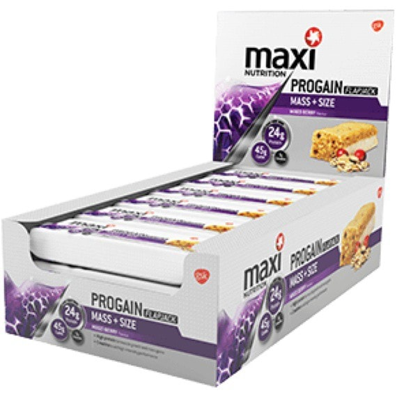 MaxiNutrition Progain Flapjacks 12 x 90g Flapjacks / Mixed Berry Protein  www.nutri4u.co.uk - 1