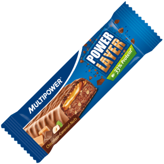 MultiPower Power Layer Bar 18 x 60g Bars / Caramel & Nuts Protein  www.nutri4u.co.uk