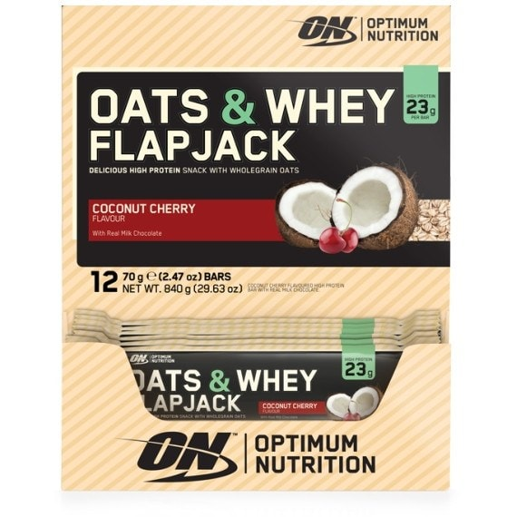 Optimum Nutrition Oats & Whey Flapjacks 12 x 70g Flapjacks / Coconut Cherry Protein  www.nutri4u.co.uk - 1