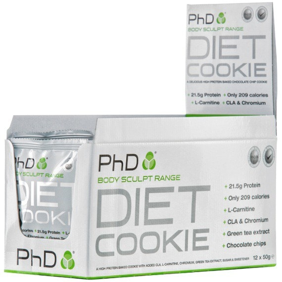 PhD Nutrition Diet Cookie 12 x 50g Cookies / Blueberry & White Chocolate Protein  www.nutri4u.co.uk - 1