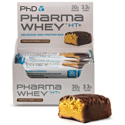 PhD Nutrition Pharma Whey HT+ Bars 12 x 75g Bars / Chocolate Peanut Protein  www.nutri4u.co.uk - 1