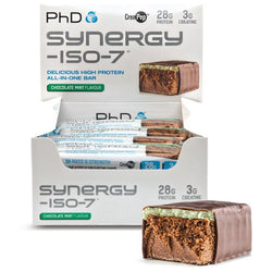 PhD Nutrition Synergy ISO-7 Bars 12 x 70g Bars / Chocolate Mint Protein  www.nutri4u.co.uk - 1