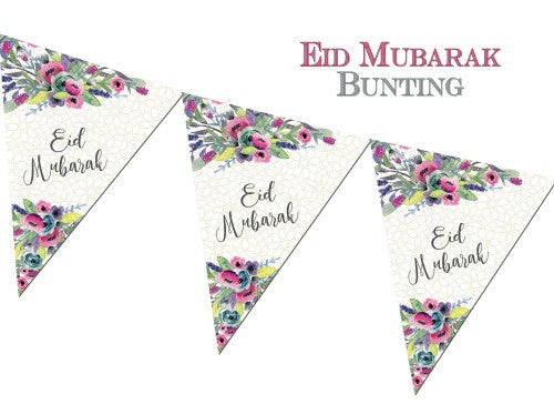 Eid Mubarak Bunting Watercolour Flowers