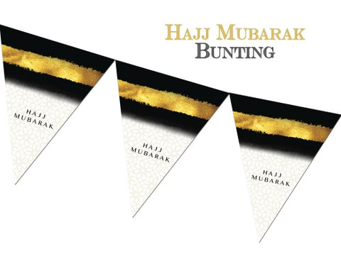 Hajj Mubarak Bunting - Black and Gold