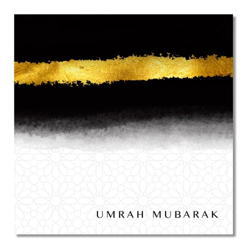 Umrah Mubarak Card - Black and Gold